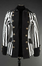 Black White Striped Goth Victorian Jacket Beetlejuice Short Pirate Princ... - $119.99