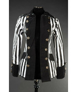 Black White Striped Goth Victorian Jacket Beetlejuice Short Pirate Princ... - $96.41