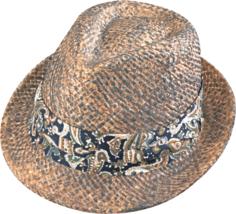 Henschel Raffia Straw Handstained Fedora Paisley Print Band Blue Brown Gray - $38.00