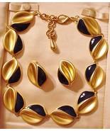 Vintage unsigned Royal Blue & gold Metal Enamel Necklace Demi w/ Earrings - $54.45