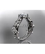 Leafring149 white gold  platinum  diamond wedding ring  diamond engagement ring  forever brilliant moissanite  2 thumbtall