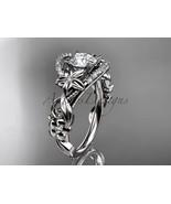 Floral engagement ring, 14kt white gold diamond unique engagement ring, ... - $1,725.00
