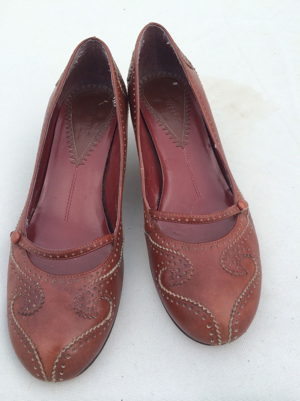 Women's Brown Leather Nine West Mary Jane Heels Size 8.5