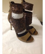 Womens Bronze Leather And Leopard Glitter Guess Open Toe Heels Size 8 New - $32.66