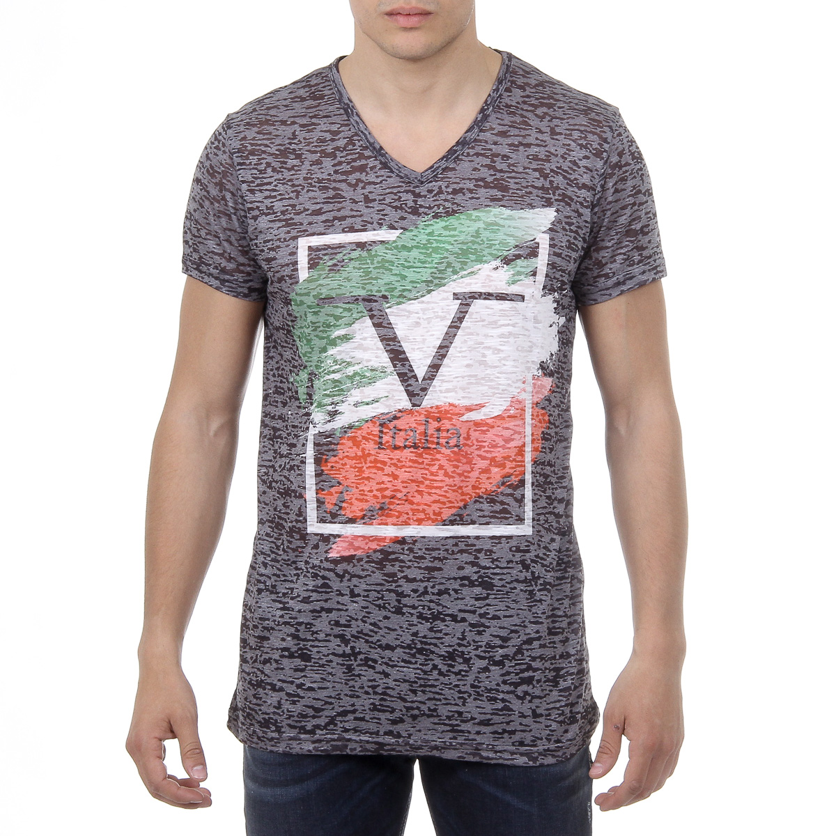 Primary image for V 1969 Italia Mens T-shirt Short Sleeves V-Neck Black LUCAS