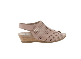 Earth Leather Perforated Wedge Sandals- Pisa Galli Dusty Pink 8.5M NEW A... - $73.24