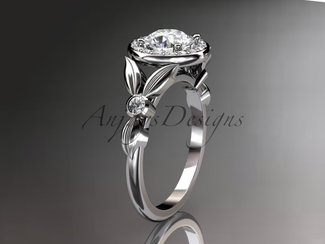 Leafring129 white gold  platinum  diamond wedding ring  diamond engagement ring  forever brilliant moissanite  1