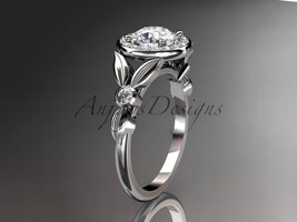 Enagagement ring,14kt  white gold diamond floral wedding ring, engagemen... - $1,295.00