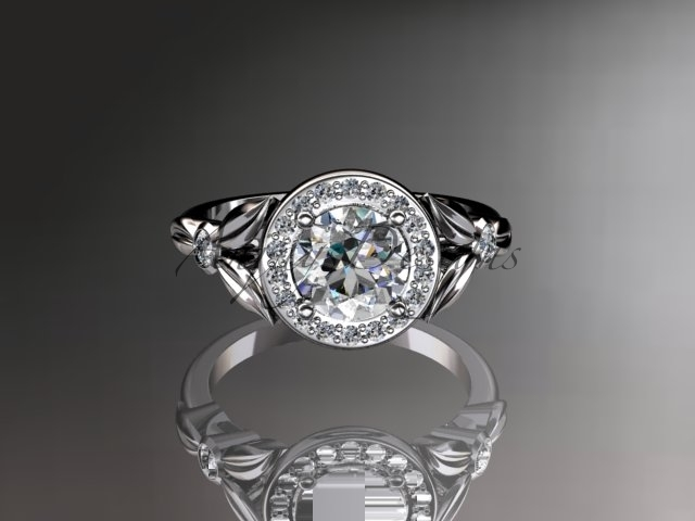 Enagagement ring,14kt  white gold diamond floral wedding ring, engagement ring A