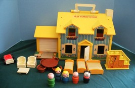 Vintage Fisher Price Play Family #952 Yellow House (Good-VG) (L) Rough Room - $65.00