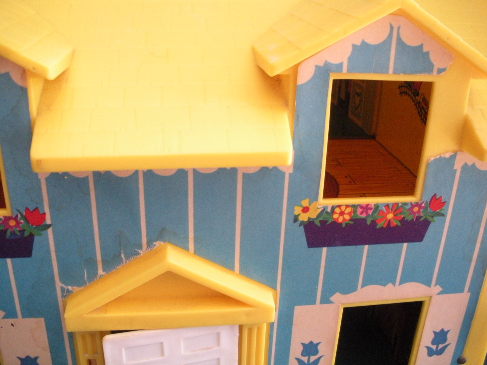 Vintage Fisher Price Play Family #952 Yellow House (Good-VG) (L) Rough Room