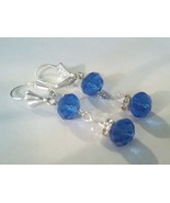 Classy Blue Swarovski Crystal Dangle Earrings  - $10.99