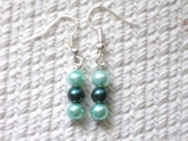 Seafoam Green Teal Frosted Glass Pearl Rounds S... - $1.50