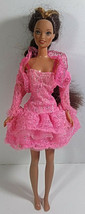 Vintage Barbie Doll Clothing Outfit Mattel Pink Floral Lace Dress Jacket Tulle - $6.99