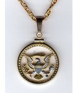 "Kennedy half ""Eagle - side, Presidential seal"". cut coin pendant necklace - $96.00"