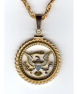 "Kennedy half dollar ""Eagle - side, Presidential seal"". coin pendant neck... - $140.00"