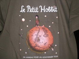 "TeeFury Hobbit SMALL ""Le Petit Hobbit"" Frodo Little Prince Mash Up ARMY ... - $13.00"
