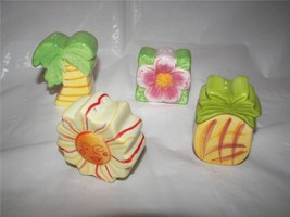 Tahitian Summer ceramic Flowers Mini Salt & Pepper Shaker set of 4 NIB - $12.00