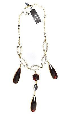 NEW WOMEN'S INC I.N.C NECKLACE CRYSTAL RUBY RED 3 ROW TEARDROP GOLD NECKLACE