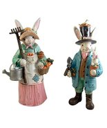 Gardening Bunny Rabbit Couple Statue Figurine Decoration Set, 12 Inch - $63.99