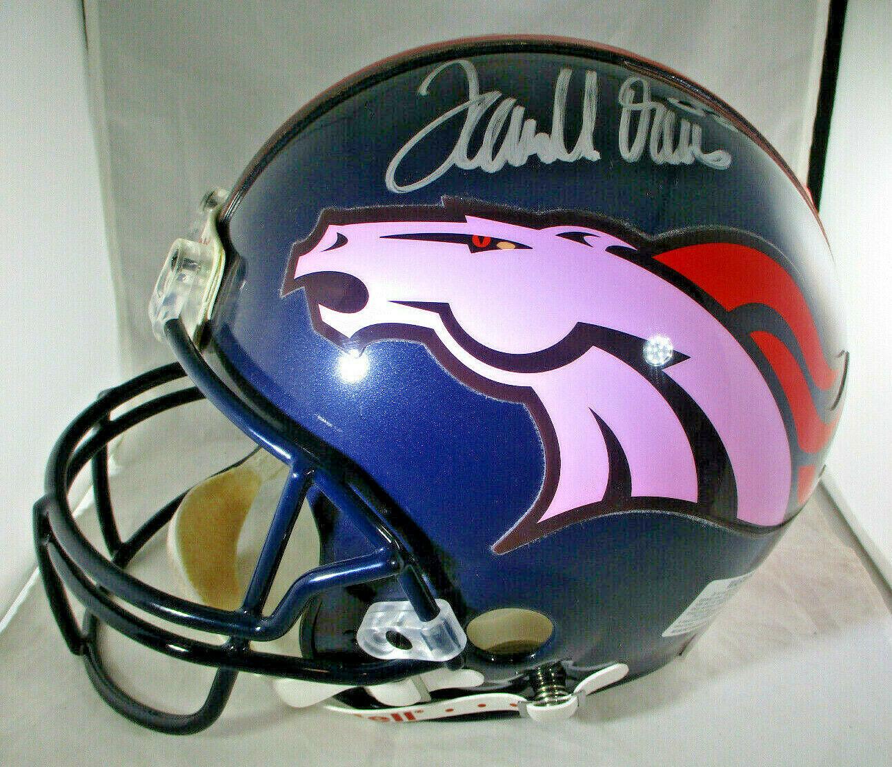 TERRELL DAVIS / AUTOGRAPHED DENVER BRONCOS NFL PRO LINE FOOTBALL HELMET / COA
