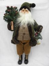 Vtg Green Brown & Tan Woodsy Pier Noel Santa Claus Christmas Tabletop De... - $24.99