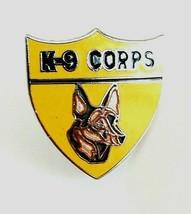 Vintage US Army K-9 Corps Silver Tone Enamel Lapel Hat Pin Military Dog  - $7.80
