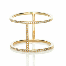 14k Yellow Gold Plated 925 Silver Round Cut CZ Diamond Bar Ring - $82.99