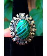 Very Cool Vintage 800 Silver & Green Art Glass Ring Size 8 - $169.32