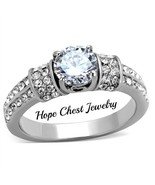 WOMEN'S STAINLESS STEEL 1 CT ROUND CUT BRIDAL CZ ENGAGEMENT RING SIZE 5 ... - $15.29