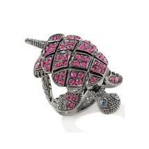 Princess Amanda Black GP RD Pink Sapphire Magic Motion Turtle Ring Free ... - $76.99