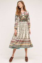 NWT ANTHROPOLOGIE FAR FIELDS PRINTED BEADED MIDI DRESS by BHANUNI 4P - $142.49