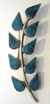 Vintage Sterling & Turquoise Brooch Pin Signed CJ Sterling Mexico FREE S... - £15.33 GBP