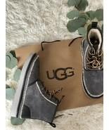 New UGG Australia HARKLEY STITCH SUEDE/ WOOL ANKLE BOOTS MEN Dark Grey S... - $118.80