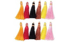 12 Little 2 Inch Imitation Silk Tassel Charms With a Loop in Assorted Co... - $6.13