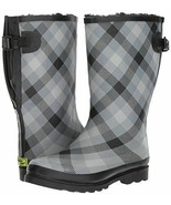 WESTERN CHIEF Rain Boot Womens Adj. Calf Charcoal Satin Plaid Fleece Lin... - €24,89 EUR