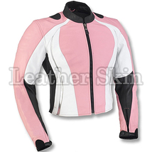 Leather Skin Pink Motorcycle Biker Racing Premium Genuine Real Leather Jacket - $179.99
