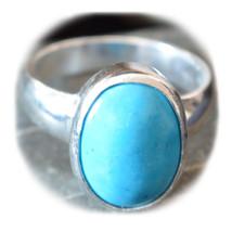 Genuine Turquoise Silver Ring 8 Carat Gem Handmade Sizes 4,5,6,7,8,9,10,... - £29.91 GBP