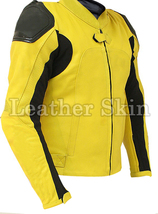 Leather Skin Yellow Motorcycle Biker Racing Premium Genuine Real Leather Jacket - $179.99