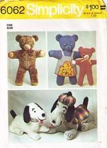 1973 STUFFED ANIMALS SET Pattern 6062-s UNCUT - $12.99