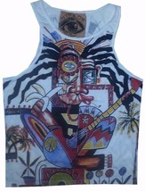 Men Top Sleeveless white 100% Cotton Graphic Picasso Rasta Reggae Ganja M MIRROR - $12.86