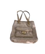 Authentic Coach handbag, tote, purse, tan &  gold sandals slip-on women's - $59.39