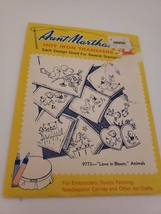 Vintage Aunt Martha's Love In Bloom Animals 9773 Hot Iron Transfers - $1.49