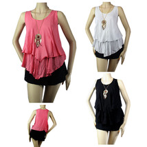 Ruffle Layering Hi-Low TANK TOP w/ Necklace,Stretchy Casual Trendy Top Plus - $19.99
