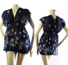 V-Neck Chiffon Print Short Sleeve BLOUSE w/Tie Back,Band Waist,Casual To... - $19.99