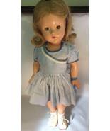 VTG Antique Effanbee Composition Sleepy brown eyes blue dress leather sh... - $187.11