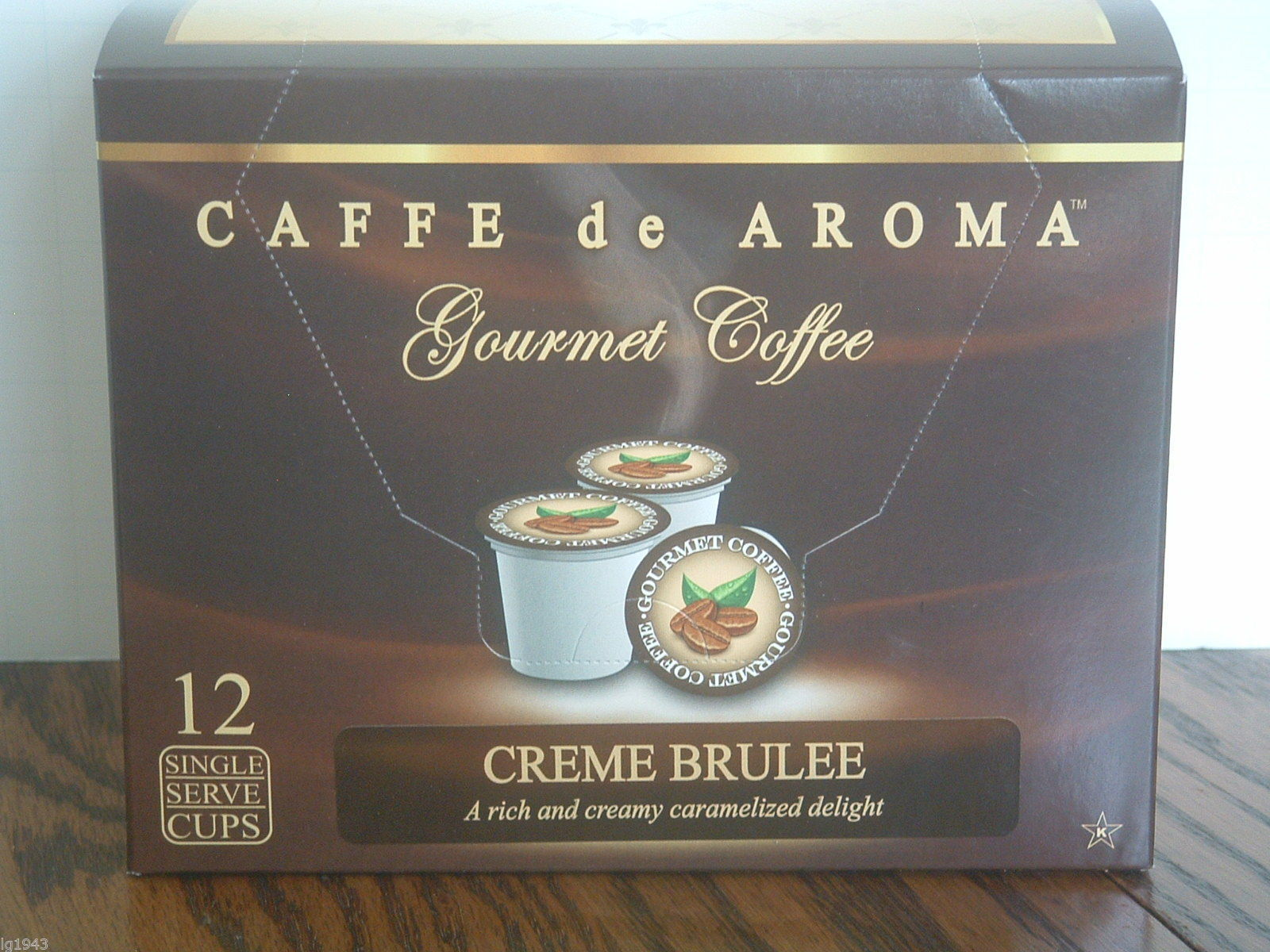 Caffe De Aroma Creme Brulee 12 Single Serve K-Cups Free Shipping