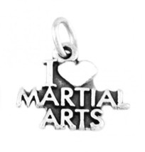 """925 SILVER I LOVE MARTIAL ARTS CHARM WITH 16"""" BOX CHAIN - $15.32"""