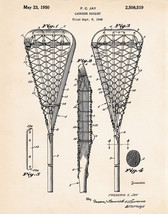 Lacrosse Stick Racquet 1950 US Patent Prints Art Drawings Sports Poster ... - $8.46+