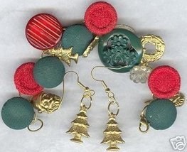 Christmas Holiday Button Charm Bracelet Earring Set - $16.99